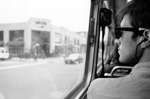 Through the bus window,