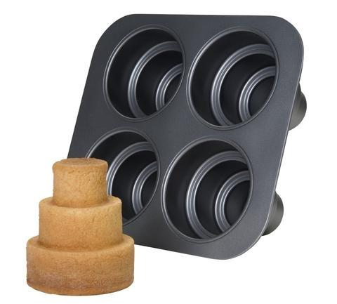 Amazon.com: Chicago Metallic Multi Tier Cake Pan 4 Cavity, 10.6 x 9.60 x 4.5 Inch: Kitchen & Dining