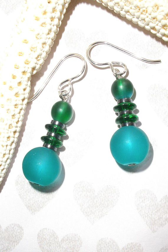 CHUNKY HOLIDAY GREEN  Earrings Handcrafted Drop Dangle