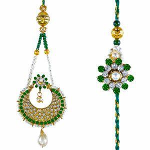 This lumba & rakhi set comes with roli and chawal and are beautifully packed in a designer gift bag.  Rs 799/- http://www.tajonline.com/rakhi-gifts/product/rdr89/bhaiya-bhabhi-rakhi-set/?aff=pint2014/