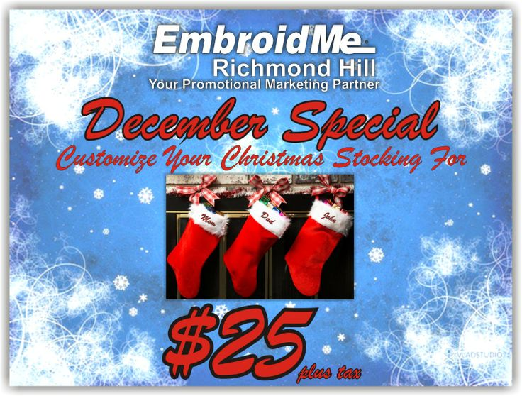 December Special! Customize Your Christmas Stocking for $25 plus tax.