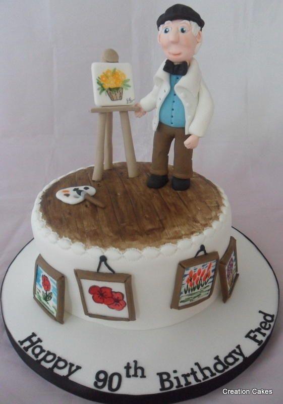Artist cake for a keen watercolour artist for his 90th for Cake craft beavercreek ohio