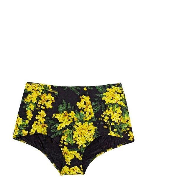 DOLCE & GABBANA Mimosa-print high-waist bikini briefs (775 BRL) ❤ liked on Polyvore featuring swimwear, bikinis, bikini, bottoms, floral, black yellow, high waisted bikini, floral high-waisted bikinis, yellow bikini top and high rise bikini