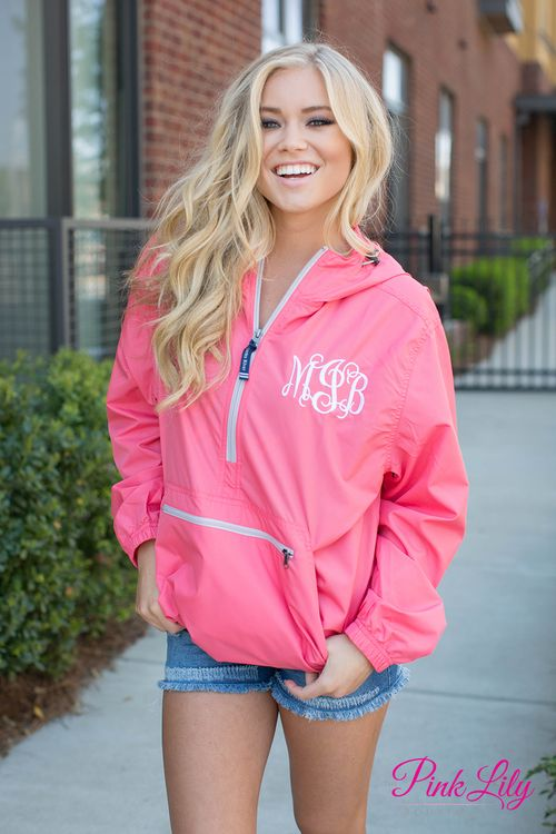 This new monogrammed Charles River Pullover is wind and waterproof with lining underneath! It also features a hood, a large pocket pouch, a covered zipper pocket, and a drawstring in the hood.