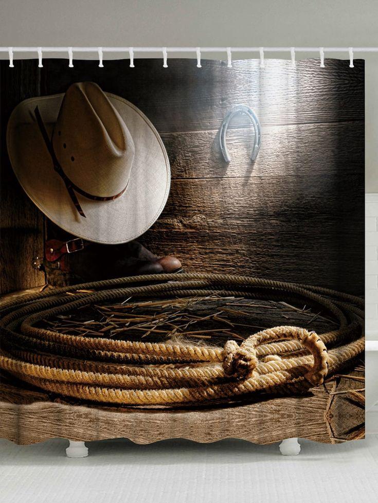 West Cowboy Accessories Unique Shower Curtain - BROWN W71 INCH * L79 INCH