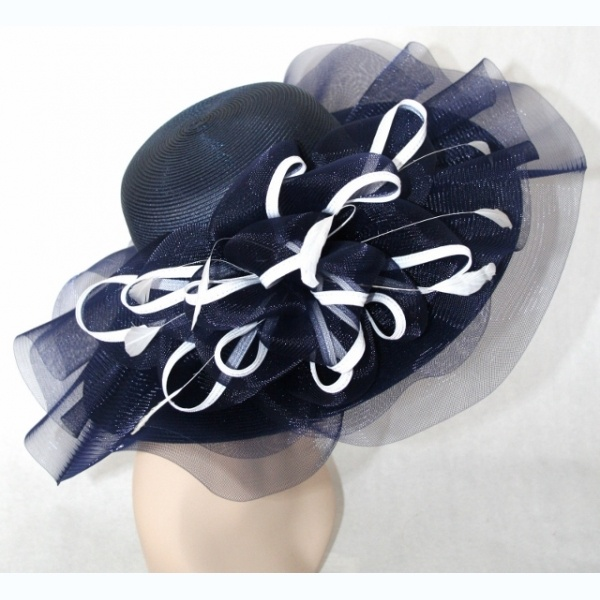 Church Hat Kentucky Derby Hat Navy Blue White Wide Brim Dress Hat Sun    Our most popular hat at www.ChurchDerbyHats.com