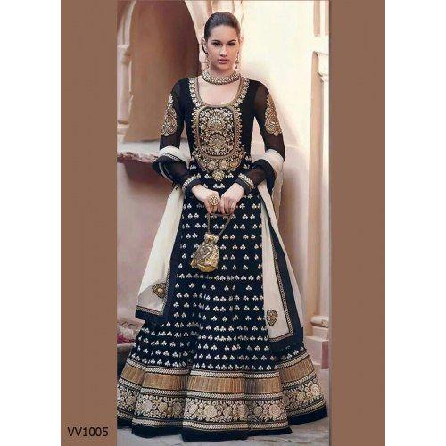 Fabboom New Black Floor Touch Embroidered Designer Anarkali Suit