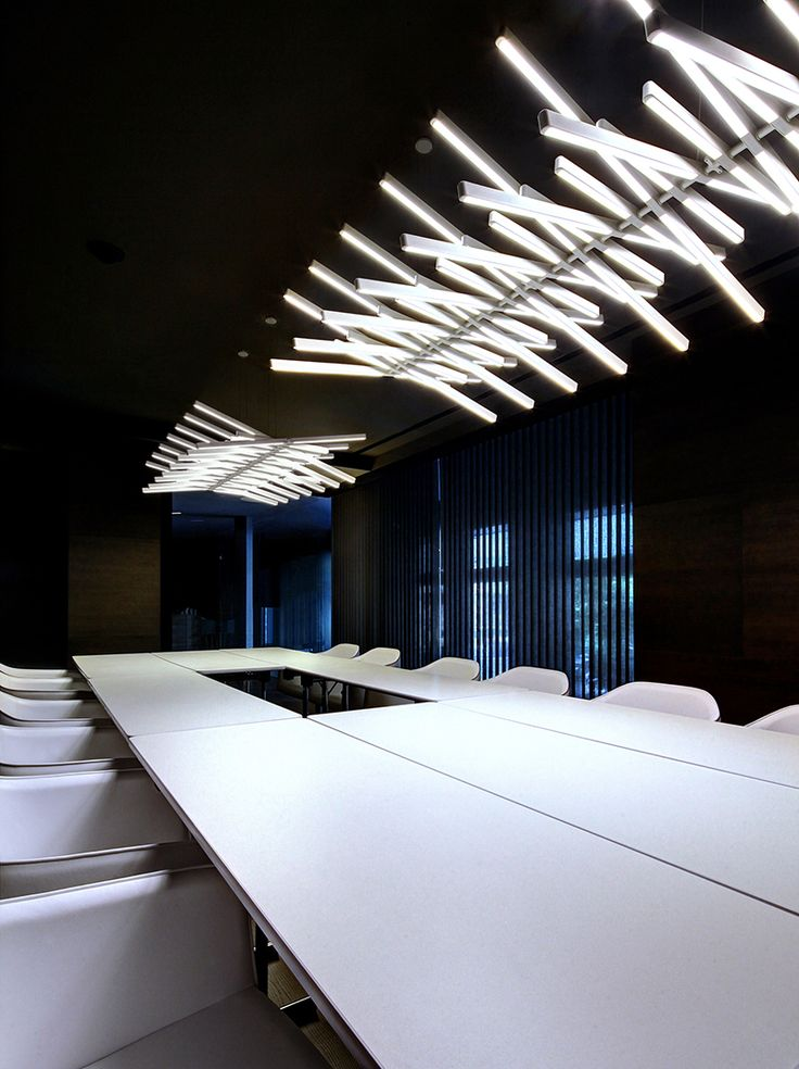 lighting in an office. some pretty interesting lighting in this office space an