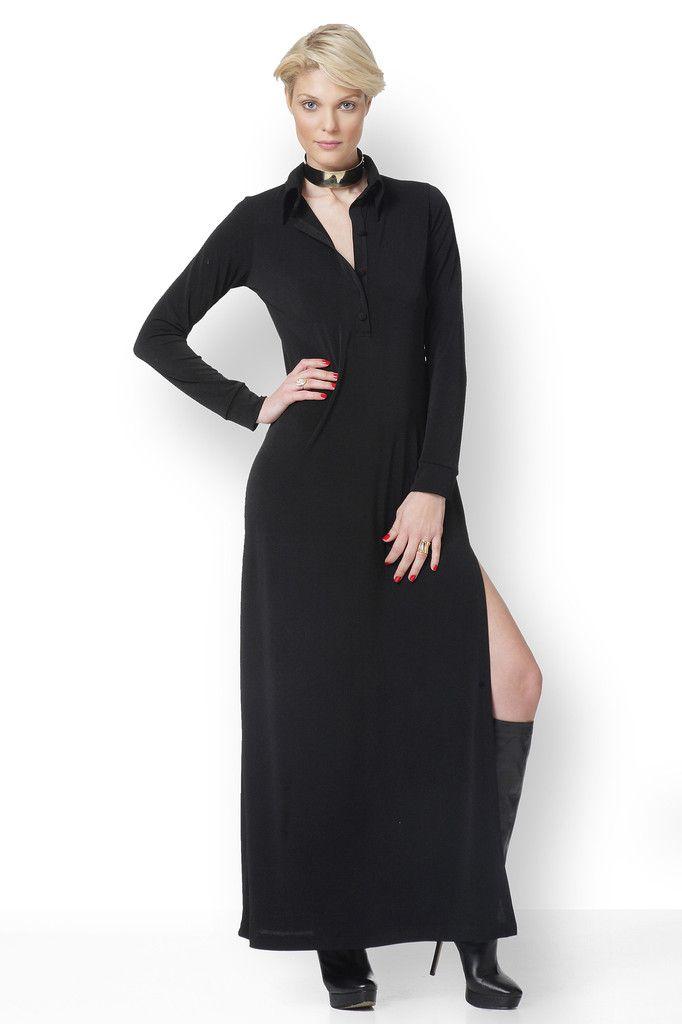 ΜΑΥΡΟ ΜΑΞΙ ΦΟΡΕΜΑ  Μάξι πουκαμισοφόρεμα, πολύ μοντέρνο, δυναμικό και άνετο. Με σκίσιμο στο πλάι, φοριέται και με λεπτή χαλαρή ζώνη ή με πολλές αλυσίδες.. Σύνθεση κρεπ ελαστικό.  Tips: Φοριέται με ψηλές ή φλάτ μπότες, με πλατφόρμες, αλλά ποτέ με γόβες.