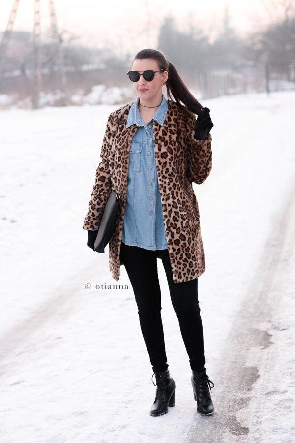 Denim coat outfit style fashion jeans płaszcz blue, Panther Leopard Fur Coats| OTIANNA