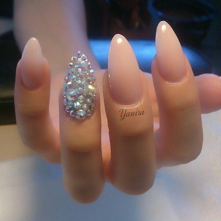 Nude almond nails with swarovski