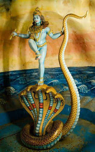 statue depicting kaliya daman at the batu caves, malaysia #hindu #krishna