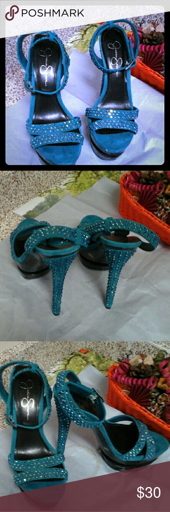 JESSICA SIMPSON Unique sandals with shining beads on top that brings out the beauty of this lovely sandals. ...is very classic and you can rock it with any thing. Jessica Simpson Shoes Sandals