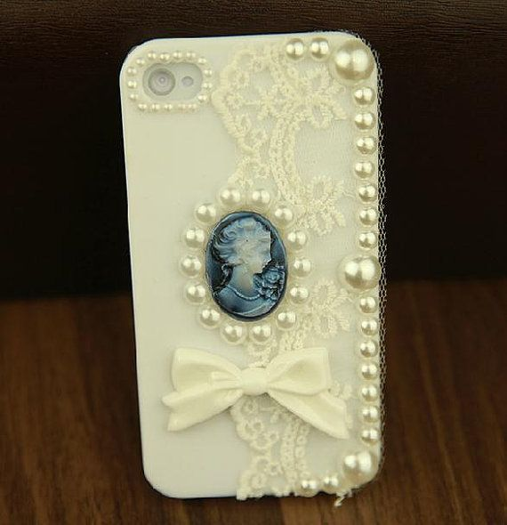 Lace Flower and Beauty's Head DIY Phone Case Deco Den by chen370, $7.39