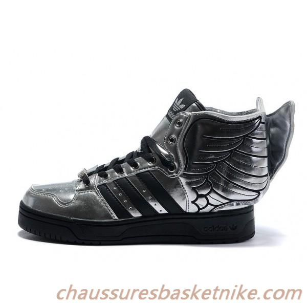 Jeremy Scott Wings de Adidas JS Wings II Hommes et Femmes Chaussures Argent  Noir