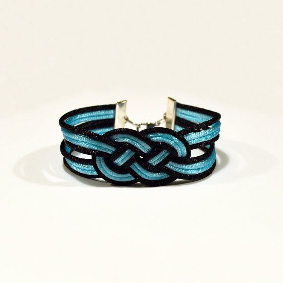 Black and turquoise large double infinity knotted by ammame33, $12.00