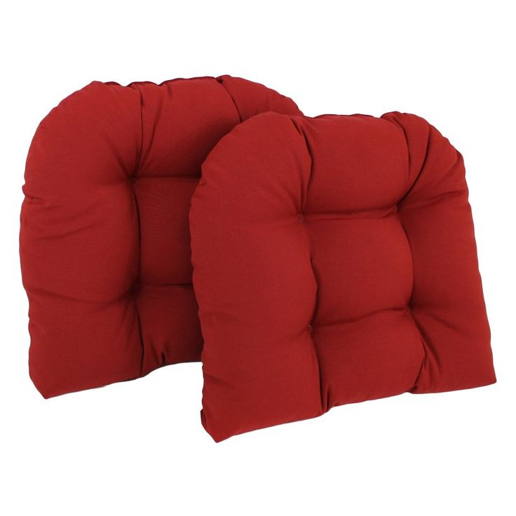 Blazing Needles Twill U-Shaped Indoor Chair Cushion - Set of 2 Ruby Red - 93184-2CH-TW-RR