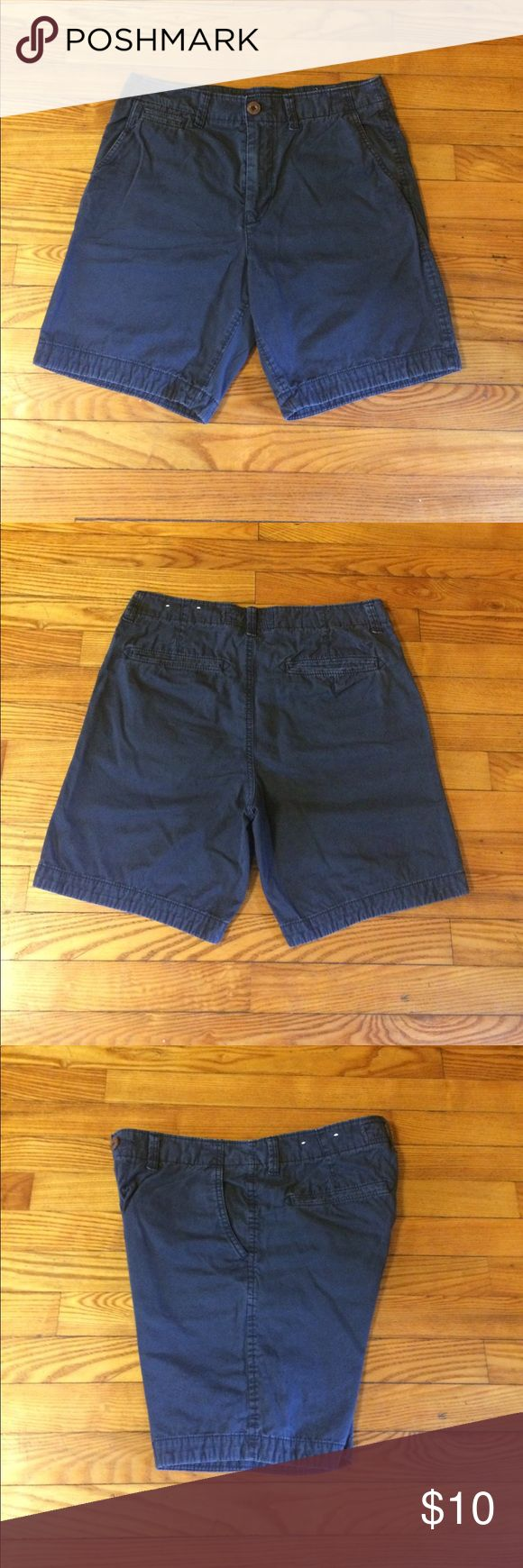 """Chino Shorts 7"""" Navy American Eagle chino's. Size 30. Logo above the back pocket is also navy so they blend. Hardly ever worn. Bundle with other chinos or simply make an offer! American Eagle Outfitters Shorts Flat Front"""