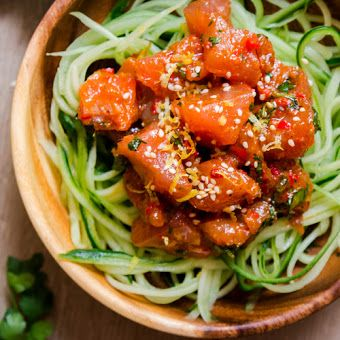 SWEET CHERMOULA TUNA TARTARE WITH CUCUMBER NOODLES