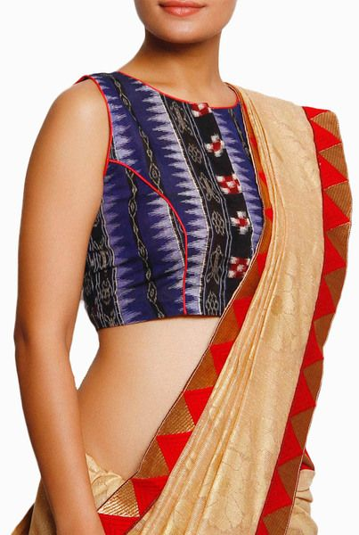 Buy Closet Ranipink Ikat Blue #Blouse exclusively on #VioletStreet  #ethnicwear