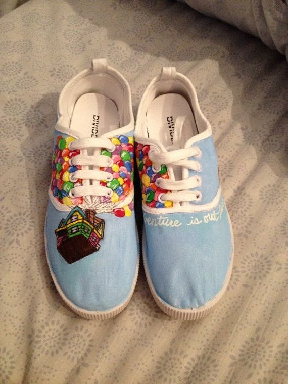 Disney/Pixar's UP hand-painted canvas shoes SIZE 8