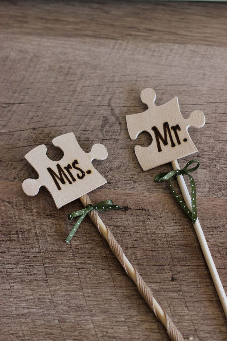 Wedding Cake Flags - Wood Burned - Puzzle Pieces - Mr & Mrs - Wooden Cake Topper - Rustic Wedding Cake Topper - Cake Topper - Custom Cake by FIREArtbykatrin on Etsy