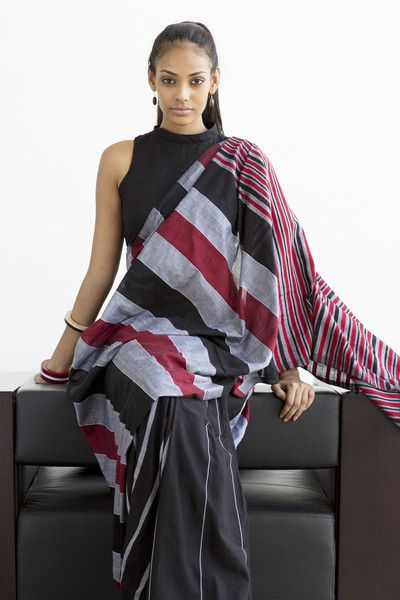 Black, maroon and grey cotton saree with sleeveless black high collar blouse
