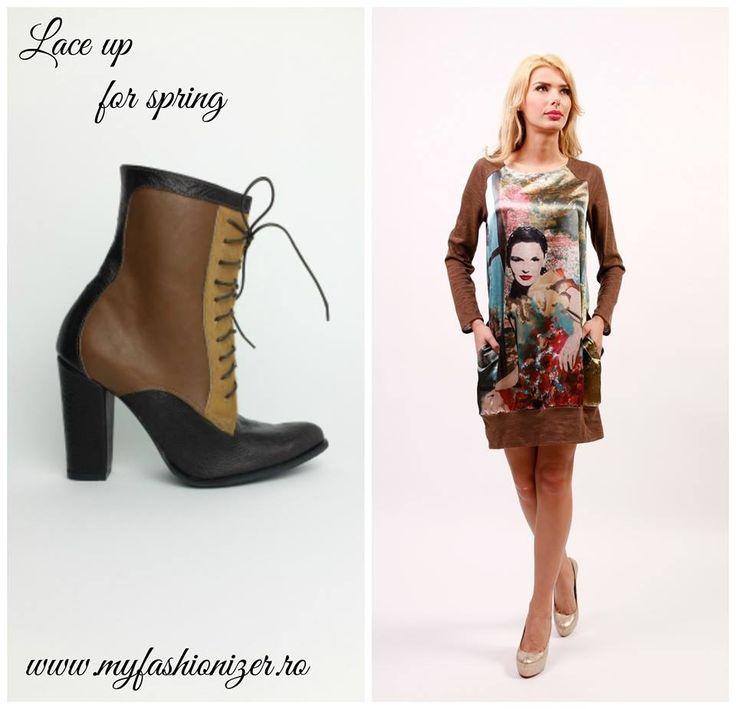 Ghete din piele cu toc siret/Lace brown boots/Colectia primavara 2015  #myfashionizer #springcollection #ghetedamapiele #lacebrownboots