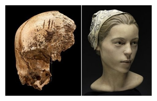 Images provided May 1, 2013 by the Smithsonian Institute show an incomplete skull excavated at James Fort in Jamestown, Virginia, and a forensic facial reconstruction produced by StudioEIS based on human remains excavated in Jamestown. Early settlers resorted to cannibalism at Jamestown, the first permanent English settlement in America, researchers said May 1, 2013