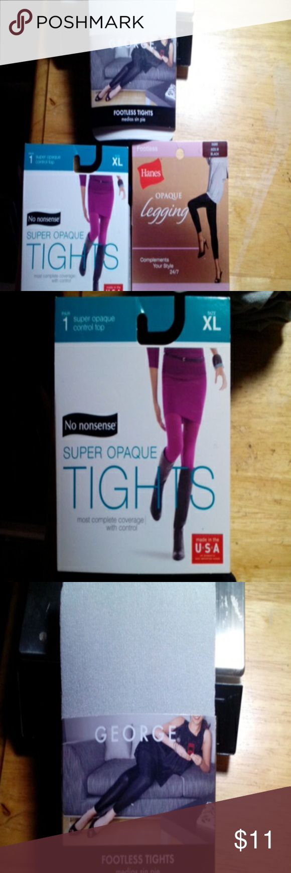 Bundle of leg wear Grey tights medium, black footless legging medium, and navy tights Accessories Hosiery & Socks