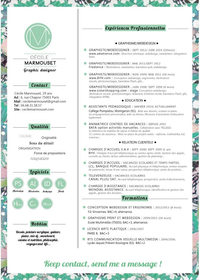 graphic designer design textil webdesigner interractive designer cecile marmouset french - Fashion Design Resume Template