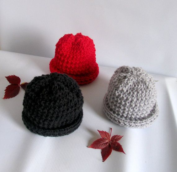 Baby Hat Newborn Baby Girl Hat Beanie Dark Grey by recyclingroom, $18.00