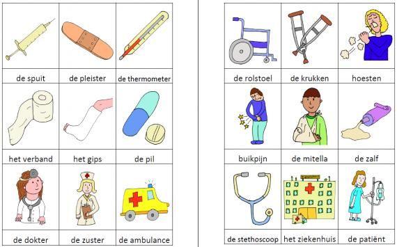 Dit woordweb in het thema dokter kun je downloaden op de website van Juf Milou.