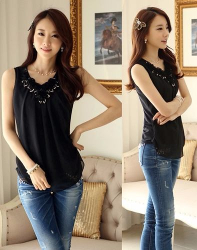UK Women Work Blouse Fashion Ladies Casual Sleeveless Shirt Top Vest Smart Tank. Shop online, womens clothes