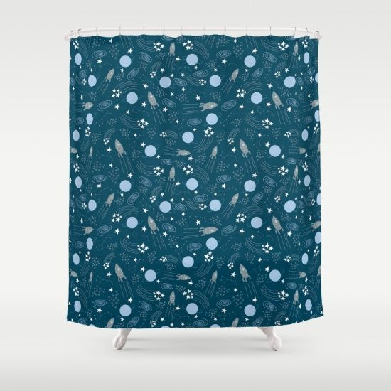 Space blu Shower Curtain