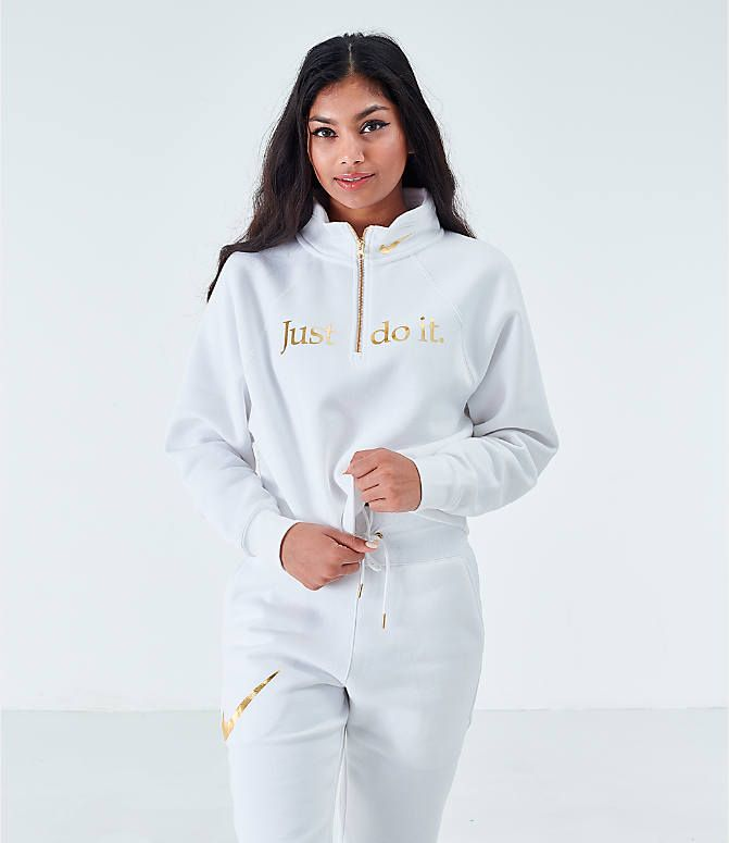 Women S Nike Sportswear Shine Half Zip Fleece Top Finish Line Nike Women Nike Sportswear Sportswear