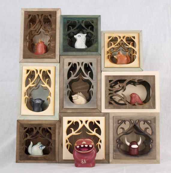 shadow boxes-put horns on everything cute and put in a creepy frame-amazing idea. Also great gift?