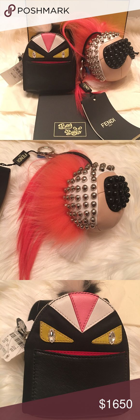 """FENDI Bug Monster Backpack & Karlito Bag Charms A bundle of two authentic Fendi XL bag charms - both measure 3.5"""" wide. NWT from Neimans, one came with the dust bag Bd pamphlet and the other the Fendi box. Fendi Bags"""