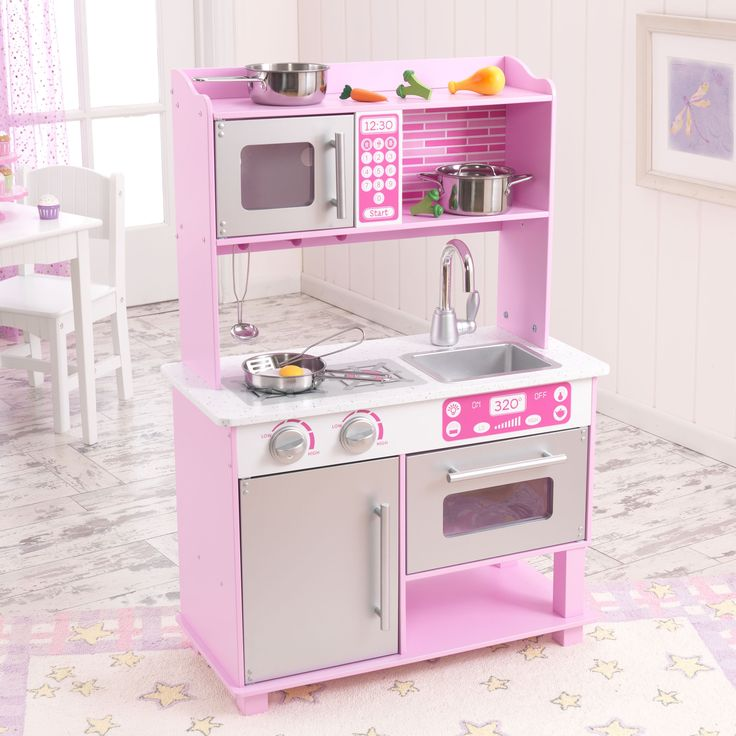 Have to have it. Kidkraft Pink Toddler Play Kitchen with Metal Accessory Set - $93.98 @hayneedle