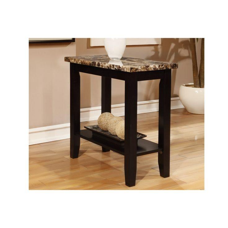Black Hardwood Marble Top End Table