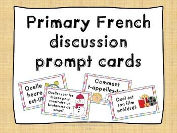 Primary French discussion prompt cards - Use as whole class/small group/centre activity Ideas: - Attach cards on a ring, have students flip through them and quiz their group - Lay a few cards out in a grid, play a game with answering them - Ask the whole class, have students answer with the person beside them - Work through small group instruction with students to practice their basic French Works for: - Grades 1-3 immersion (review for later years) - 4-6 core French