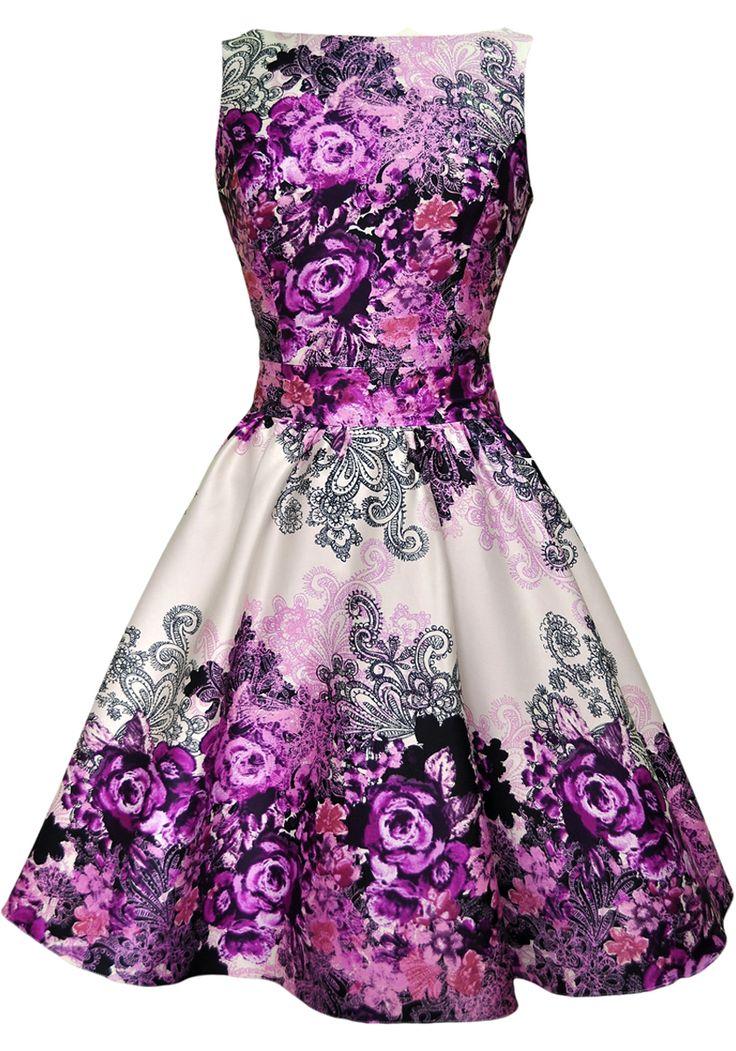 Purple Rose Floral Border tea dress http://www.misswindyshop.com/shop/item?id=18685