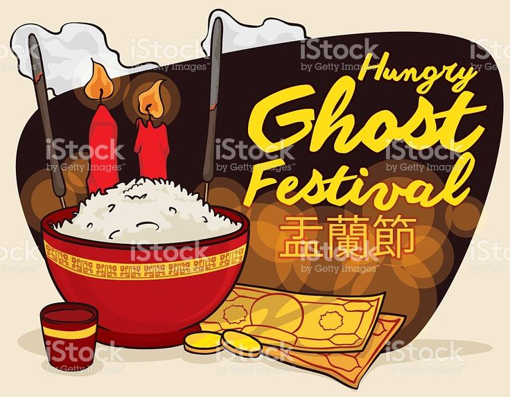 Poster with Traditional Offering to Celebrate Ghost Festival