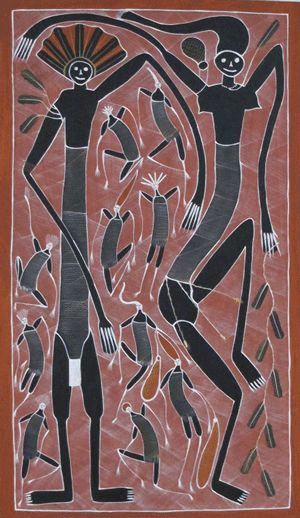 Mimi Spirit Art by Eddie Blitner. A great example of Australian Indigenous Art. Available at Art House $4,500.00 http://arthousebroome.com.au/on-line-store/Kimberley-Art/kimberley-fine-art/eddie-blitner #Aboriginal Art #Indigenous Art #Eddie Blitner