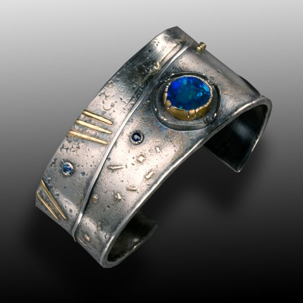 Earth, Wind and Fire by Wendy Thurlow:  Silver, 18k gold, 22k gold, sapphires, opal