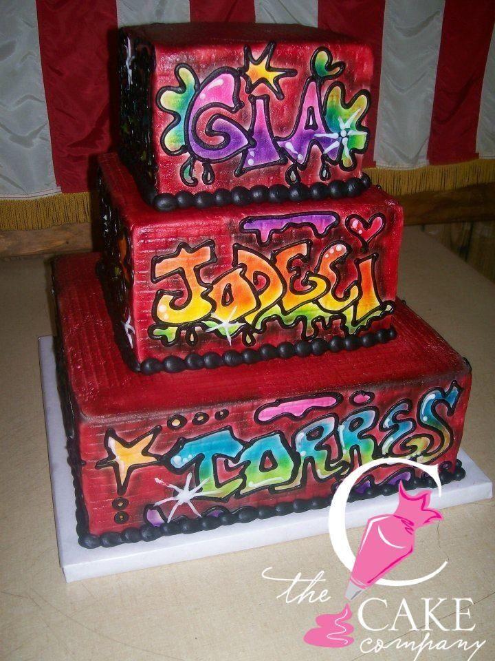 Graffiti Birthday Cake Tiered Cakes Pinterest