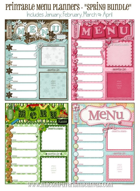 Monthly Menu Planners!!