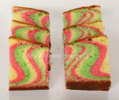 Tri Color Marble Cake Surprize On The Inside Cakes