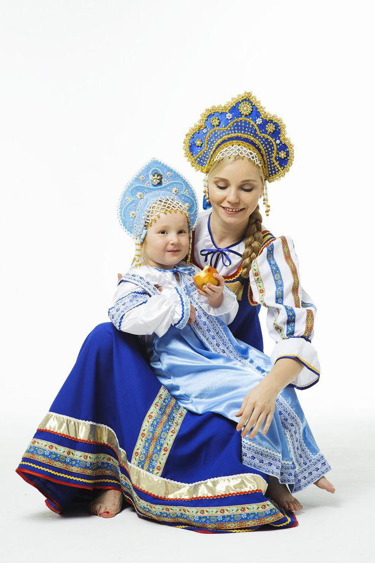 Little girl with her mum wearing Russian traditional dresses. #kids