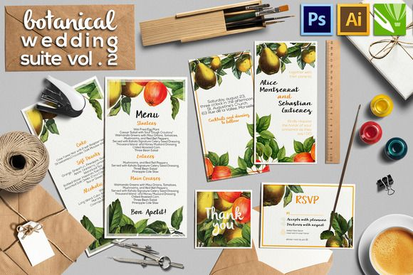 Check out Botanical Wedding Suite Vol.2 by DESIGNbook on Creative Market